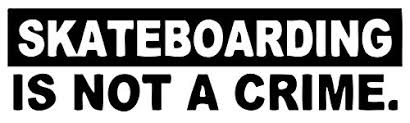 Image showing skateboard sticker displaying the words skateboarding is not a crime